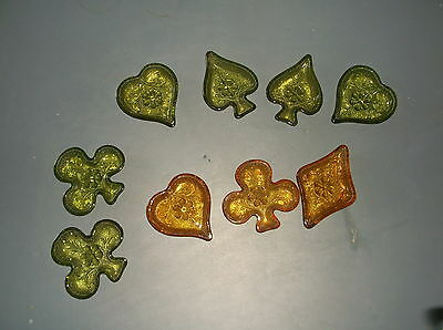 Lot Of 9 Amber And Green Glass Small Dishes Hearts,diamonds,clover, Spades,
