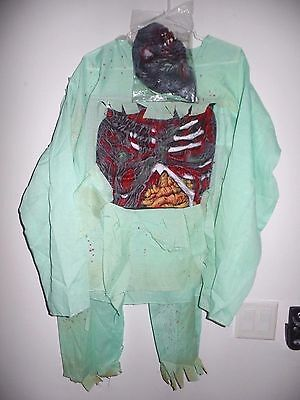 Complete Zombie Child Costume Mask No Gloves 8-10 12-14 NIP