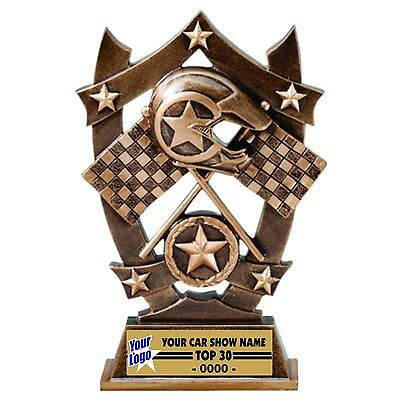 Three Dimensional Cross Flags Racing Trophy Car Show Trophy Resin Award M*ssr40