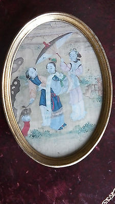 Chinese Painted Silk Picture in Gilt Glass Frame c.1900-10