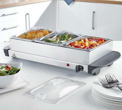 3 Tray Buffet Server & Hot Plate 3 x 1.5L Trays Stainless Steel Brand New