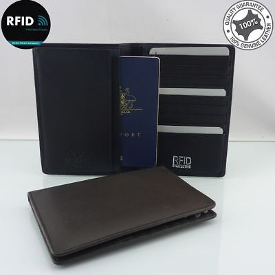 RFID Genuine Full Grain Leather Passport Holder Card Wallet I'd protector holds
