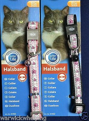 Trixie Cat XL size Collars reflective pink / black with flower & bell safer life