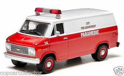 Greenlight 1/64 1977 Chevy G20 Van - City Fire Department Paramedic Ambulance