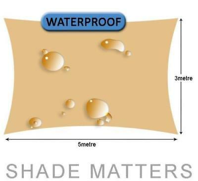 New Waterproof Shade Sail- Rectangle 3m x 5m Sand Color