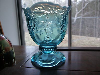 "Northwood Leaf & Flower Intaglio Blue Opalescent Vase 4 3/4"" high & 3 1/16"" base"