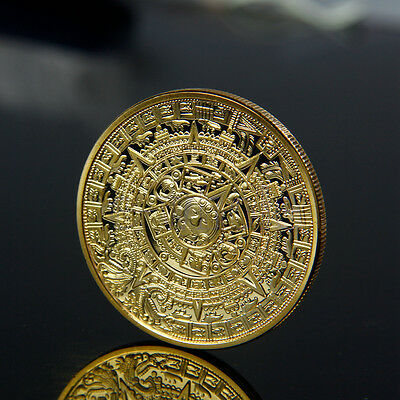 Gold Plated Aztec Mayan Calendar Commemorative Coin Collectible Collection EW