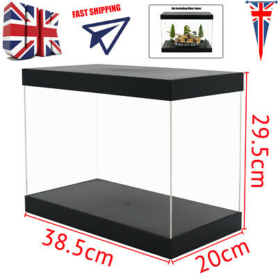 UK Big Perspex Display Box Clear Acrylic Case Plastic Base Dustproof Figure Gift