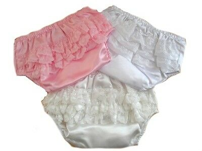 Soft Touch Baby Girls Infants Satin Frilly Lace Trim Pants White Ivory Pink New