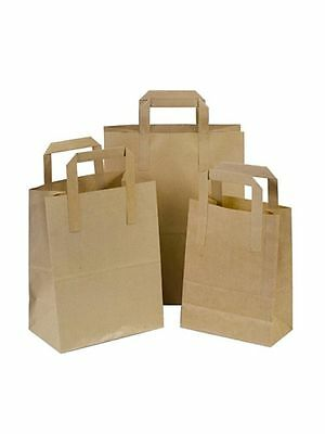 * Brown Kraft Paper SOS Food Carrier Bags With Handles Party or Takeaway
