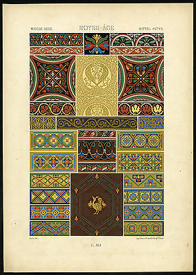 Antique Print-DESIGN-ORNAMENT-MIDDLE AGES-MEDIEVAL-XLI-Racinet-ca. 1870