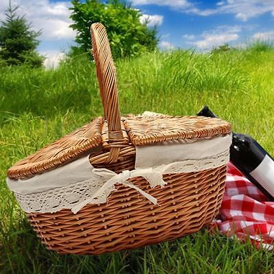 Up to 10KG Wicker Hand Picnic Storage Basket Shopping Hamper With Lid and Handle