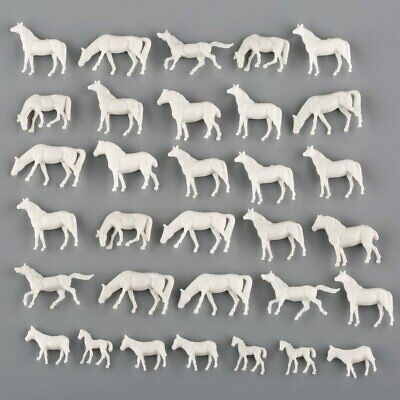 50pcs 1:150 UnPainted White Farm Animals Horses N Scale
