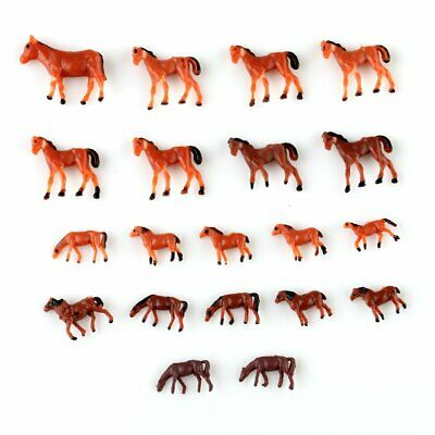 20pcs 1:150 Well Painted Farm Animals Horses N Scale