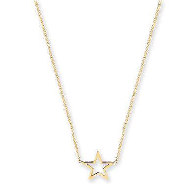9ct 18 Inch Yellow Gold Rolo Star Chain Adjustable