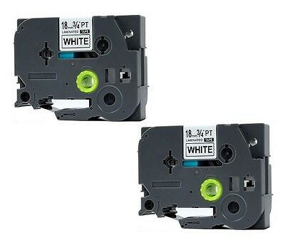 "(2) Compatible to Brother TZE 241 3/4"" P-touch Black On White tape 18mm Label"