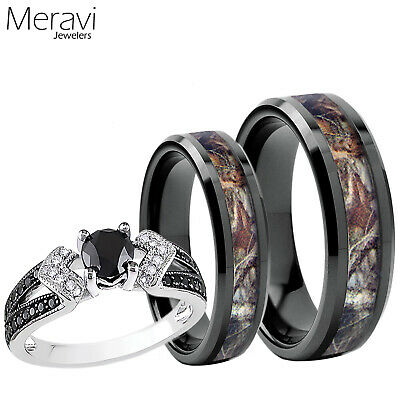 Women 925 Sterling Silver Ring Men Black Titanium Mossy Forest Oak Camo Band Set