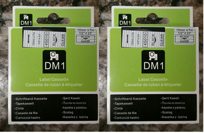 """Black on Clear Tape Label Compatible for DYMO 45010 D1 Label Makers 12mm 1/2"""""""