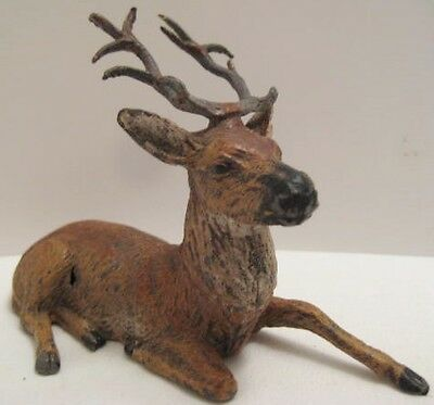 Old Large 1930s German Lead Reindeer for Christmas Putz Village - Lying - NICE