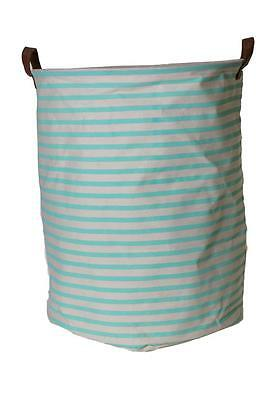 NEW EDC Canvas Storage Basket Laundry Hamper - Mint Stripe - For Toys Clothes