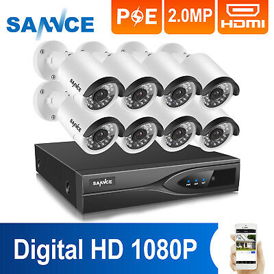 ANNKE 1080P 8CH NVR POE IP Network Outdoor Day/Night CCTV Security Camera System