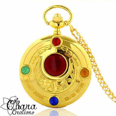 collana orologio con catena lunga color oro, sailor moon cosplay