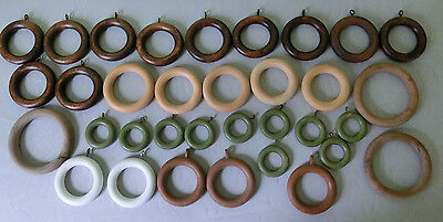 Vintage Lot Mostly Wood Drapery Rings Round DIY Craft Accessory w Loop 34 pcs