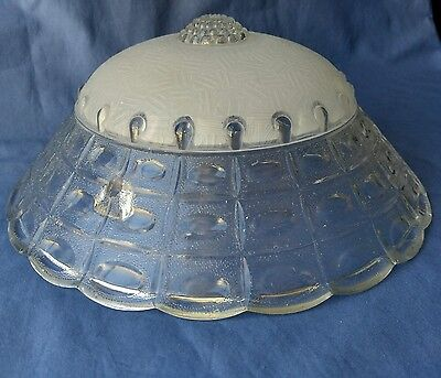 Vintage Art Deco Glass Light Shade, Clear & Frosted, 3-Holes Ceiling Hanging