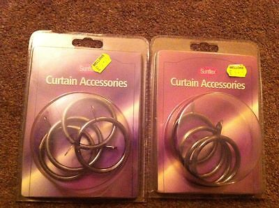 2 x Packs (x8) - Metal Curtain Rings - Antique Brass Finish
