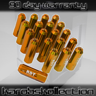 Gold Extended Forged Aluminum Racing Lug Nuts Tuner M12X1.5 Open End 60Mm 20Pc