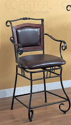 "Metal Counter Height 24"" Seat Chair with Brown Upholstery by Coaster 100160"