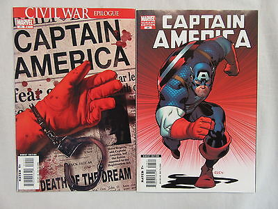 Captain America #25 Death of Cap Lot of 2 1st Print Civil War Epilogue - Marvel