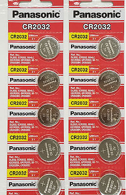 **FRESHLY NEW** 10x Panasonic CR2032 Lithium Battery 3V Coin Cell Exp 2024