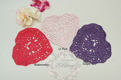 """2 Doilies, Heart Shaped,14 cm """"Great for DIY Embellishment"""
