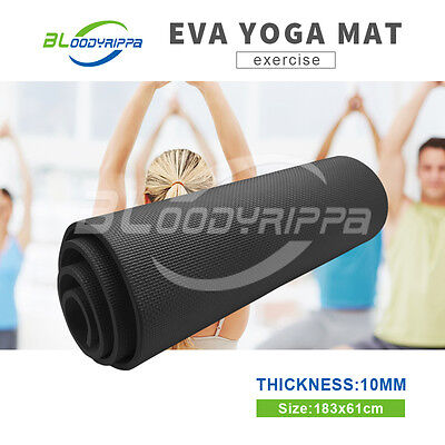 10mm ThicknessEVA Black Exercise Yoga Mat Home Gym Physio Fitness Quality