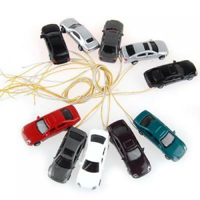 10 Flaring Light Painted Model Cars with Wires N 1:150 Building Train Layout