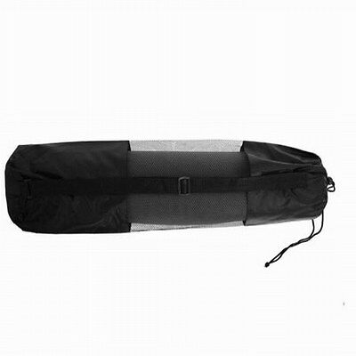 Black Yoga Mat Carry Bag Mesh Center portable Strap Nylon Carrier