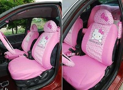 Universal cartoon Pink Car Seat Covers Front Rear Cover Accessory Set 10 Pcs