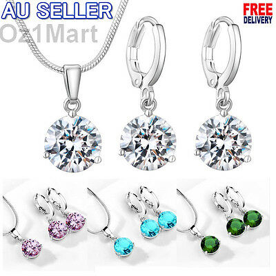 10 COLORS NEW Necklace and Earring Jewelry Set for Women Round Zircon Hot Gift