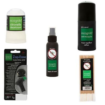 Incognito Anti-Mosquito Spray-Roll-On-Sticks-Deodorant-Zap-Ease 1 2 3 6 Packs