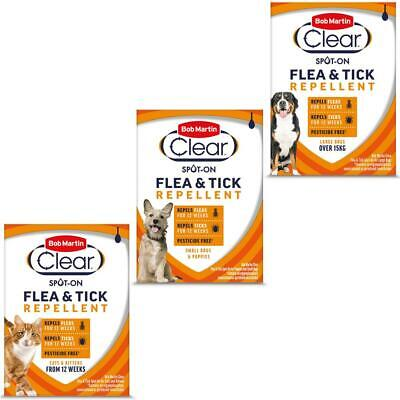 Bob Martin Clear Spot On Tick & Flea Repel Dog Puppy Cat Kitten Flea Clear