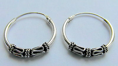 Pair Of  Sterling Silver  925  Bali  Hoop  Earrings  14  mm  !!      New  !!