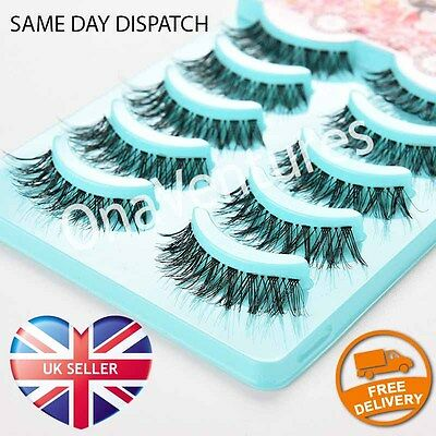 5 PAIRS False Lashes DEMI WISPIES Fake Eyelashes Natural Long MakeUp Eye Lash UK