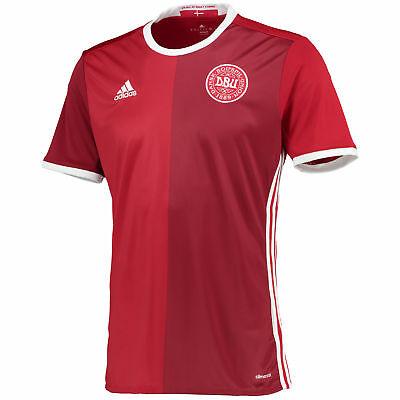 adidas Mens Denmark Football Team Home Shirt Jersey Kit Top Tee T-Shirt 2016 Red