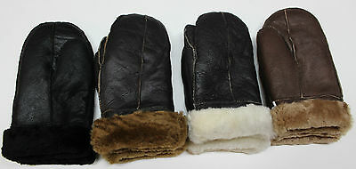 Handmade New REAL LEATHER SHEEPSKIN SHEARLING MITTENS MITTS GLOVES THICK WARM