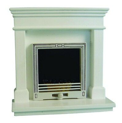 Dolls House Miniature 12th Scale Modern White Fireplace