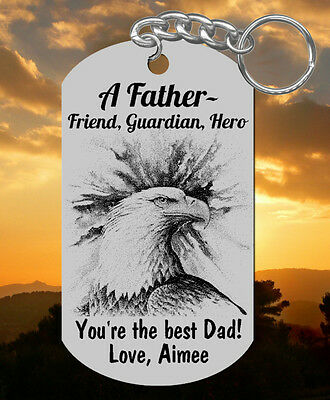 Fathers Day Keychain Gift for Dad, Personalized FREE! Eagle, Steel Engraved
