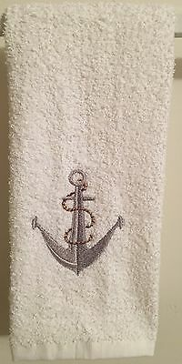 Embroidered ~ANCHOR WITH ROPE~ Kitchen Bath Hand Towel