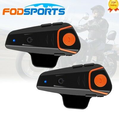 1000m BT-S2 Motorbike Bluetooth Motorcycle Helmet Intercom Headset Interphone x2