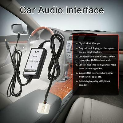 6Pin 3.5mm Car Aux Audio Adapter MP3  For Honda Acura USB Interface Charging